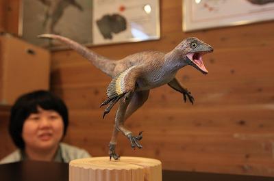 恐竜の模型展示 並木道公園 化石もとに復元